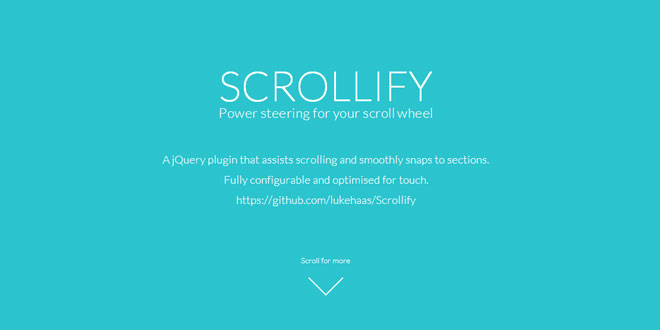 jQuery Scrollify - Power steering for your scroll wheel